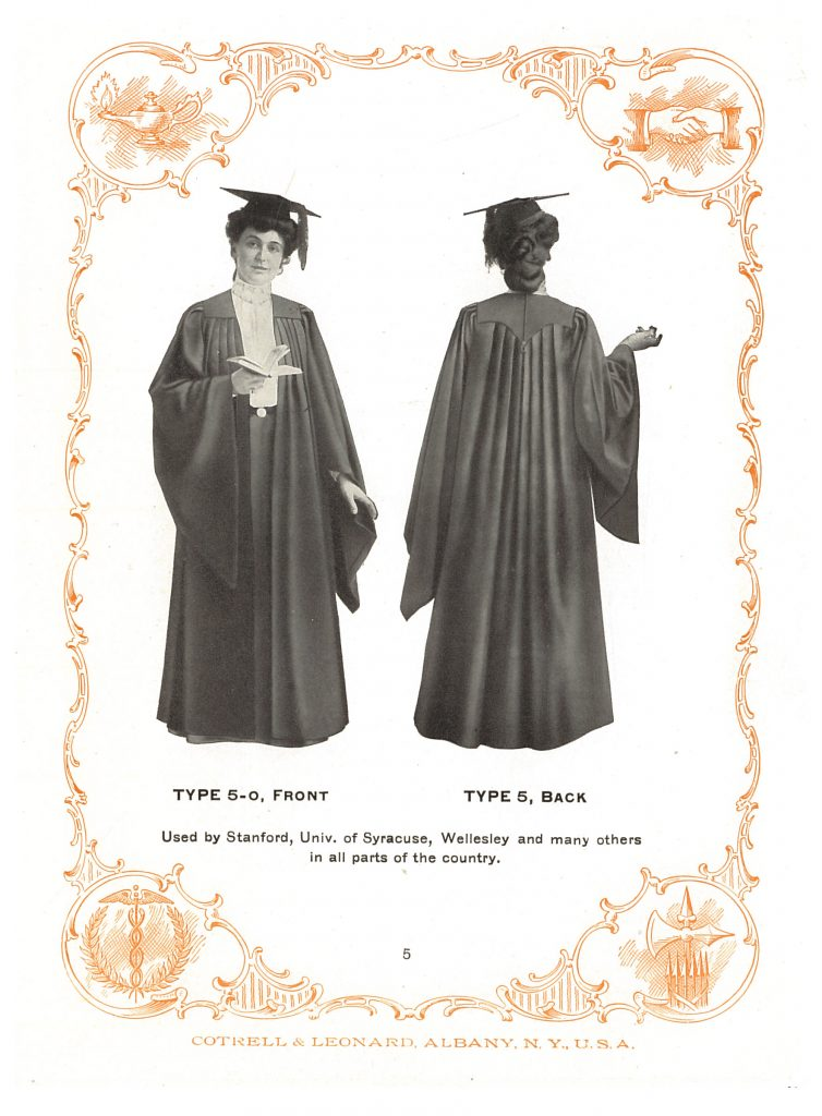 woman wearing a graduation gown with an open front, both front and back of gown shown