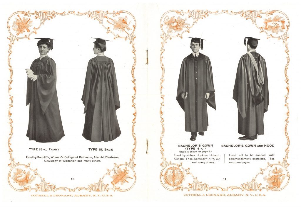 woman wearing a graduation cap and gown and a man wearing a graduation cap, gown, and hood