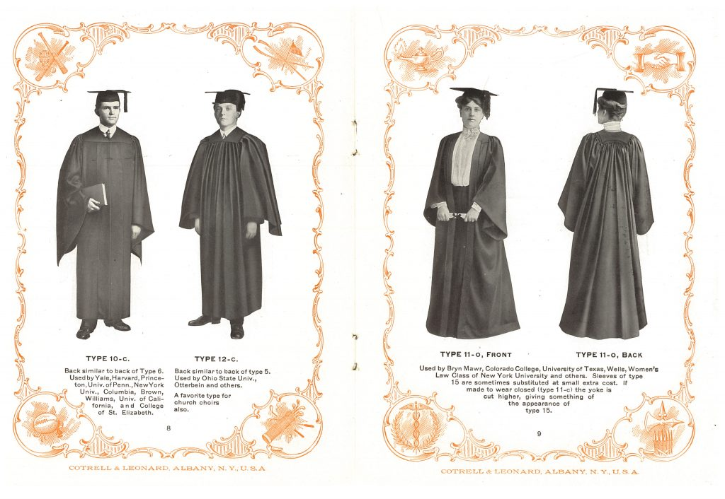 a woman and two men wearing graduation gowns and caps
