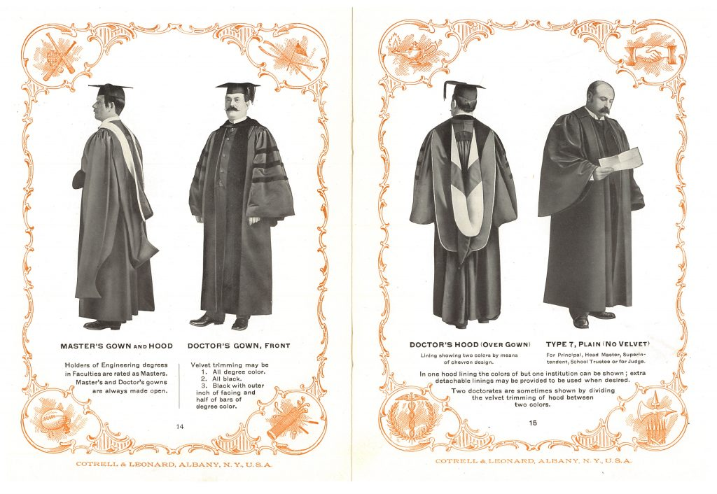 men wearing Master's gown, cap, and hood, Doctor's gown, cap, and hood, and a plain gown