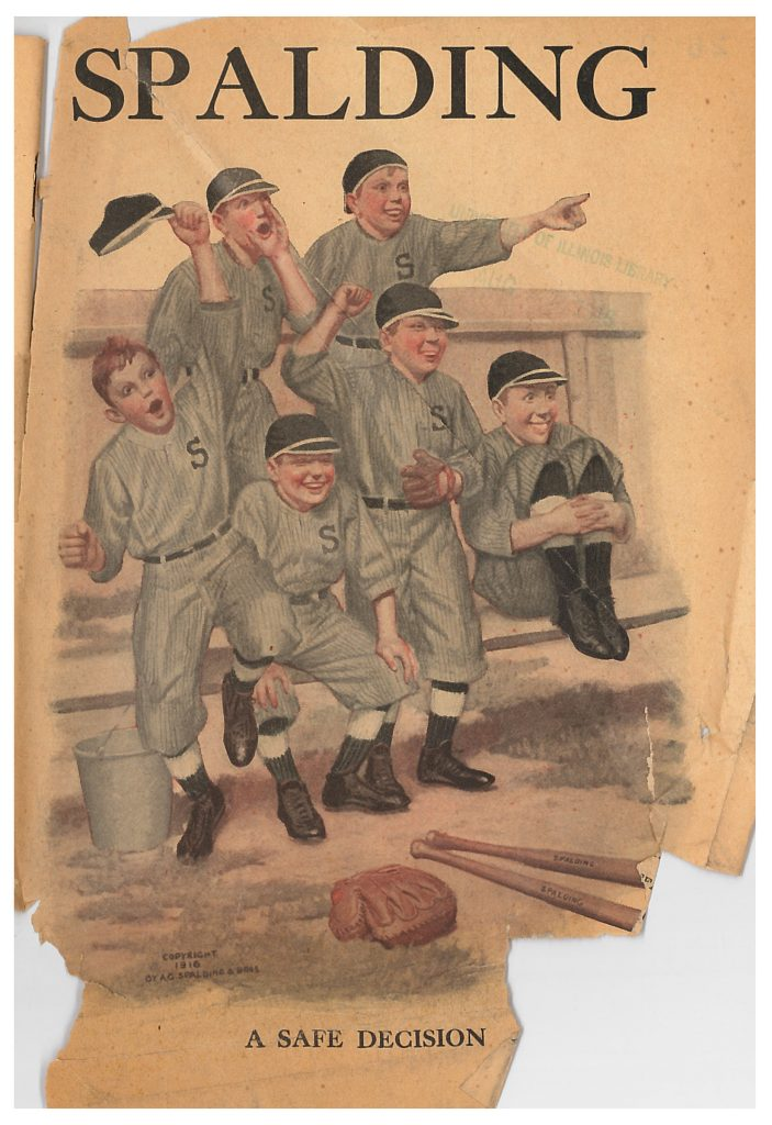 front cover of catalog showing a baseball team