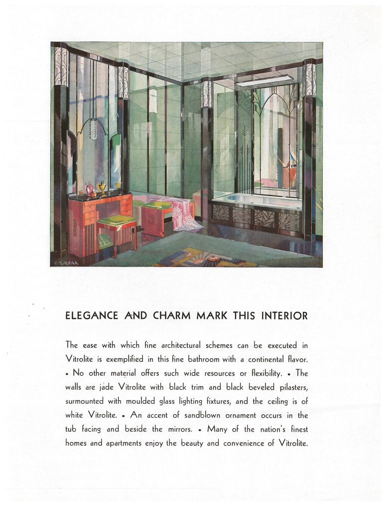 Vitrolite Co., Chicago, IL. Vitrolite Bathrooms – Kitchens, circa 1935, bathroom interior.