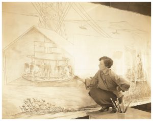 Minna Cirton working on her TVA Mural for the Post Office in Newport, Tennessee