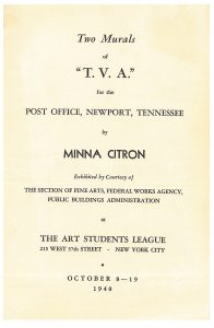 "Art Students League exhibition catalogue for ""two Murals of 'T.V.A.'"""