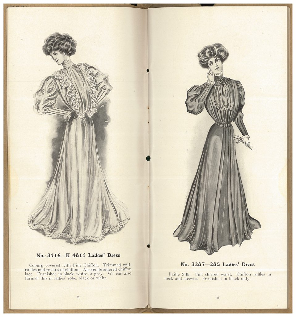 two ladies' dresses for burial garments