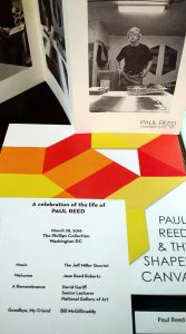 Paul Reed ephemera, including memorial service program shortly after his death