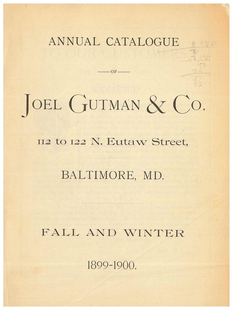 front cover of Joel Gutman & Co. Fall and Winter 1899-1900 trade catalog