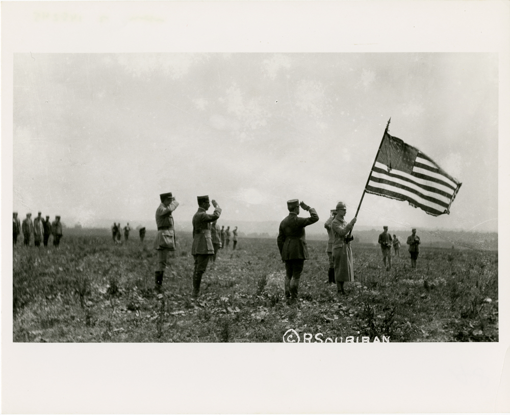 Photograph of the presentation of the Lafayette Escadrille's squadron flag at Chaudun, July 7, 1917.