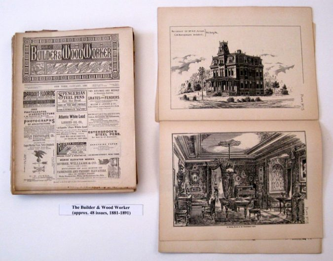 Builder and Wood-Worker. Cover, House design, Interior design for a parlor. Various issues, 1881-1895