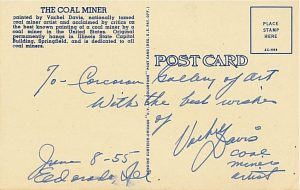 "Back of ""The Coal Miner"" Postcard"