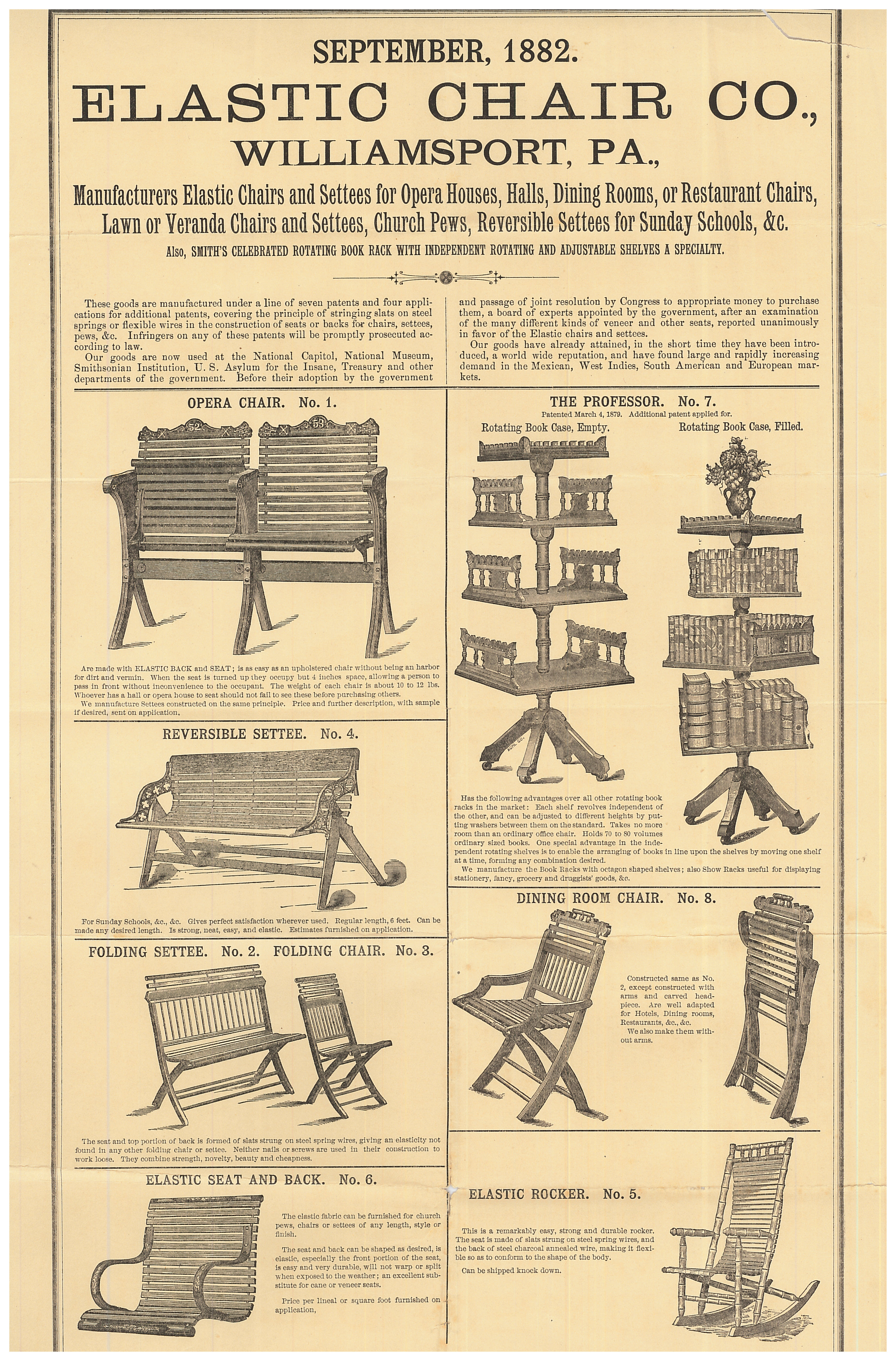Opera Chairs, Settees, Rotating Bookcases, Dining Room Chairs, Rocking  Chairs, Folding