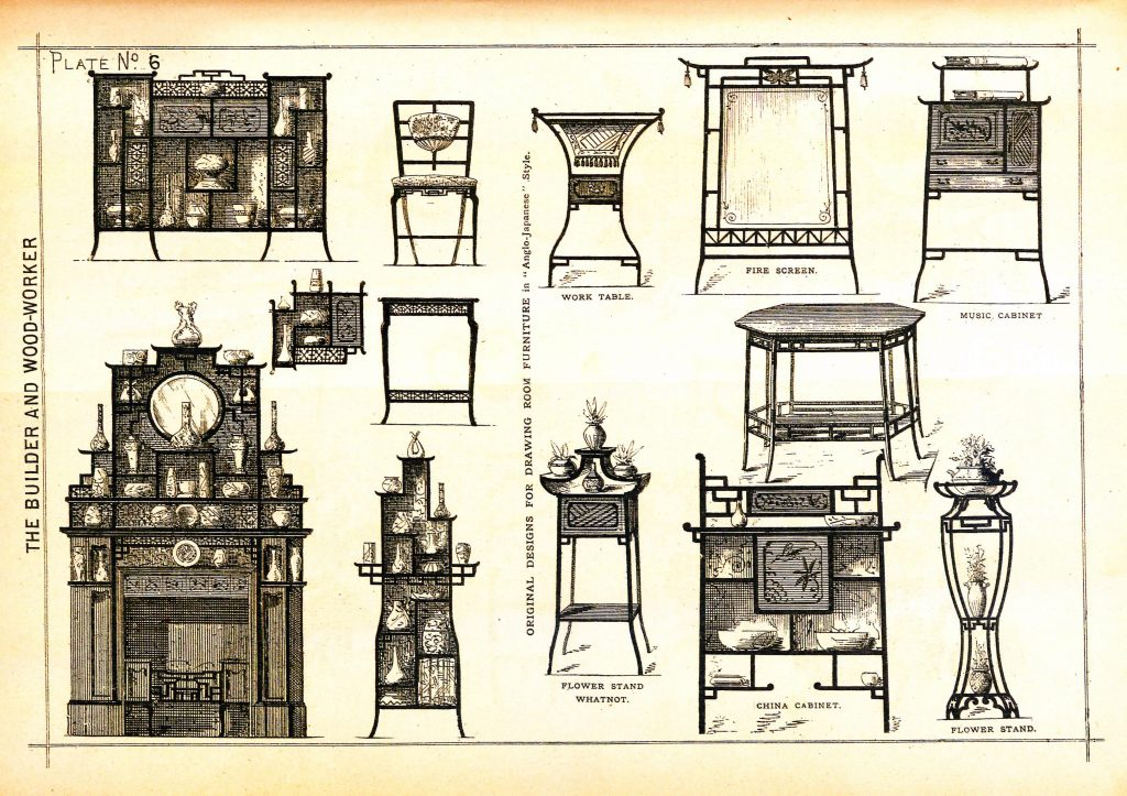 "Builder and Woodworker. Drawing room furniture in ""Anglo-Japanese style"". Vol. 18, no. 1. Jan, 1882. Plate 6."