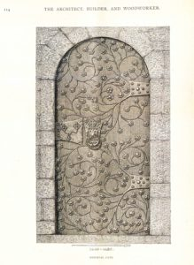 "Builder and Woodworker. ""Medieval door."" Vol. 31, no.6 June 1895. Plate 16. NA1. A43 CHMRU"