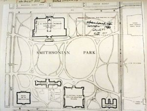 "Plan of the National Mall, showing pen drawings by Holmes. The marginalia note that his first drawing here was 1926, but by 1929, he had added the words "" Abandoned site of"" above the National Gallery of Art."