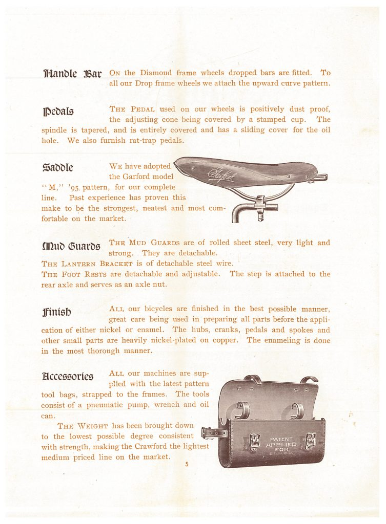 image of bicycle saddle and information about handle bars, pedals, saddle, mud guards, finish, and accessories