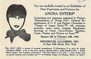 Image of an exhibition invitation to an Angna Enters exhibition at the Newhouse Galleries Inc. in New York, January 5th to February 14th, 1948.