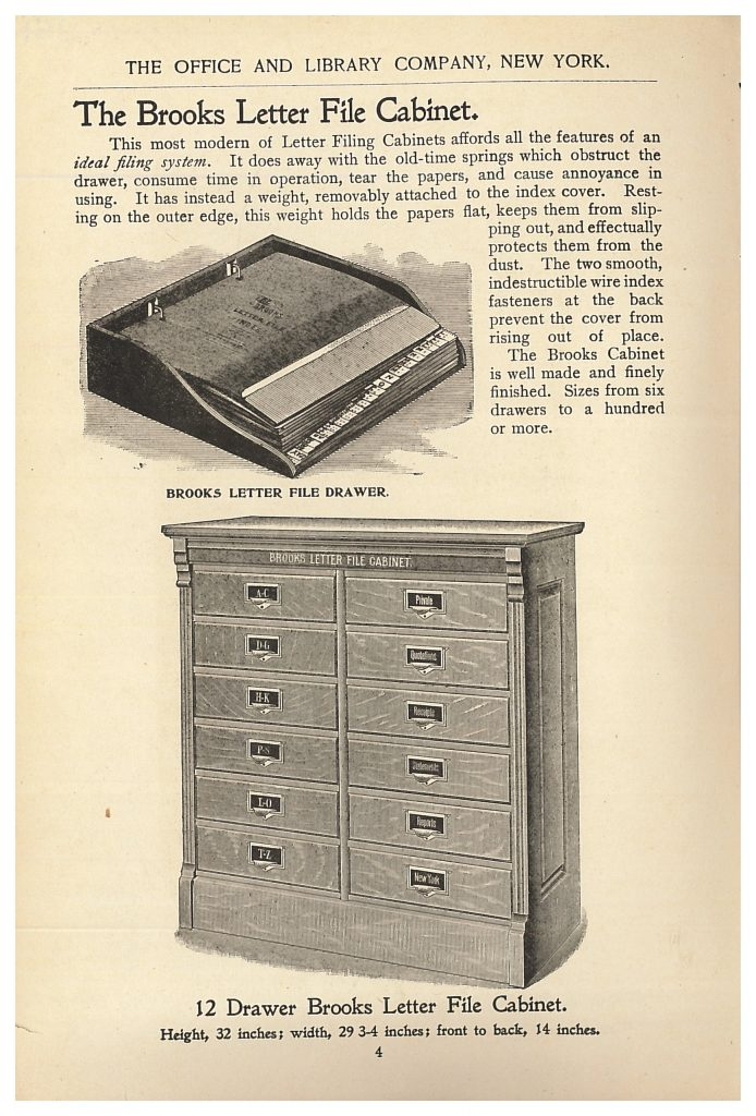 Brooks Letter File Cabinet with close-up of a drawer