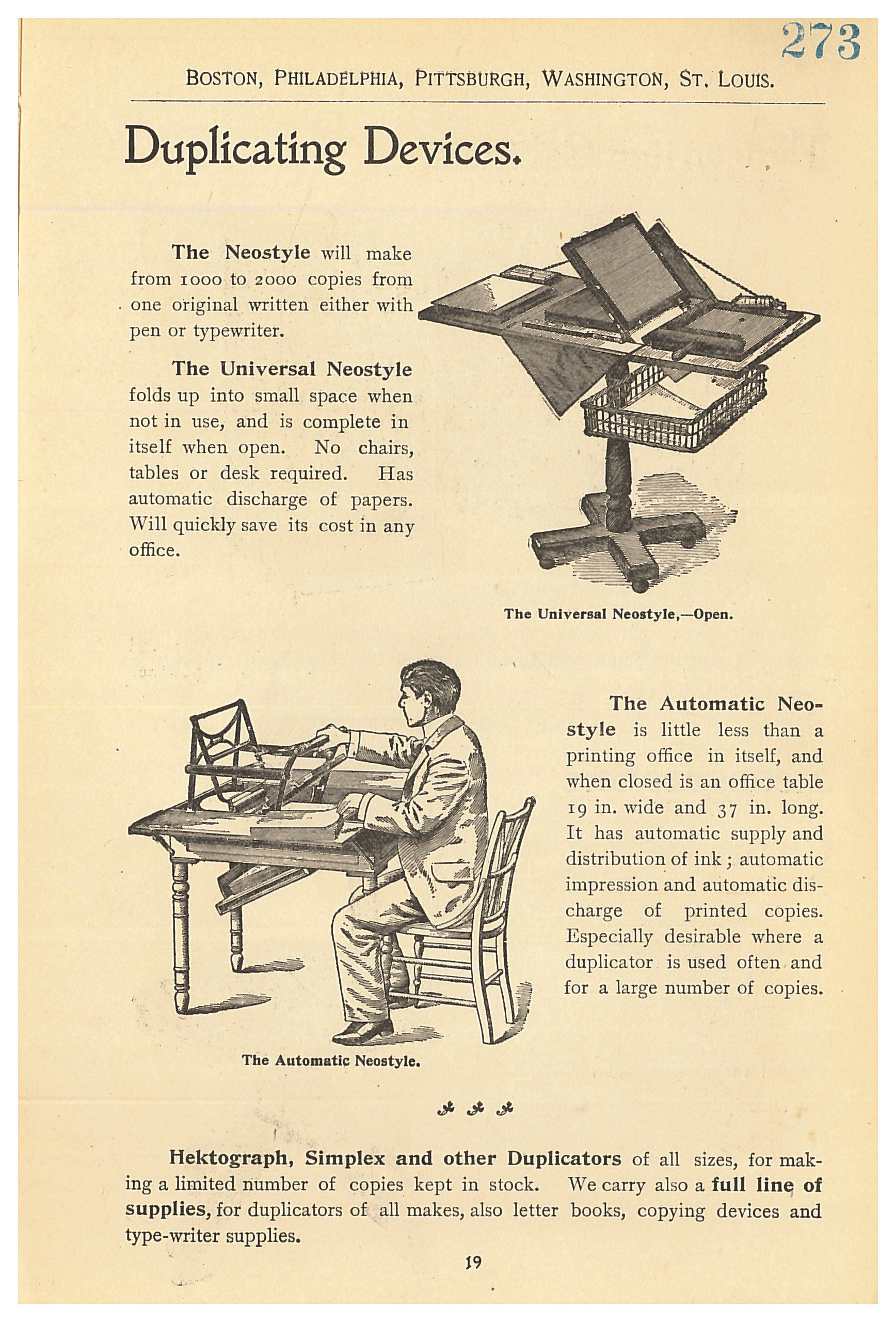 It s easy to find the office supplies copy paper furniture ink - Two Neostyle Duplicating Devices With A Man Sitting At The Automatic Neostyle Duplicating Device