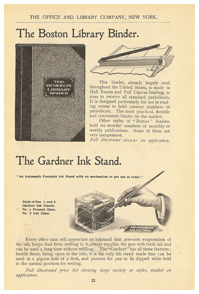 Boston Library Binder and Gardner Ink Stand.