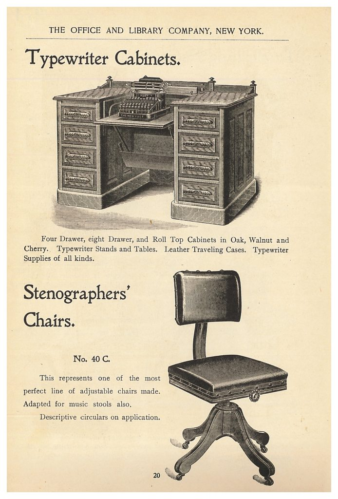 typewriter cabinet and stenographers' chair