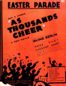 Red orange cover of sheet music for 1933 musical revue As Thousands Cheer.