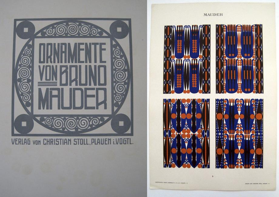 Ornamente, by Bruno Mauder. (L:) Titlepage. (R:) Plate 5.