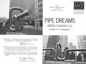 "Inside of exhibition pamphlet for ""Pipe Dreams"" at The Art Image in All Media Gallery in New York in 1970."