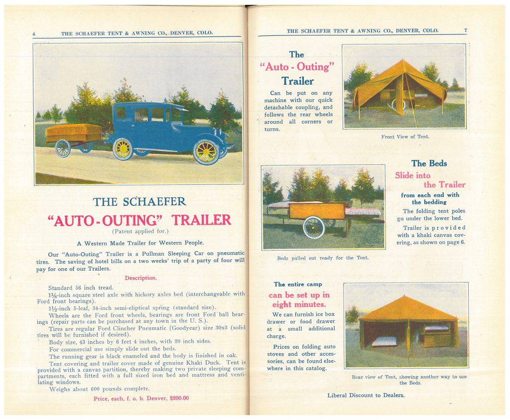 "Schaefer ""Auto-Outing"" Trailer attached to vehicle and images of tent with beds set up"