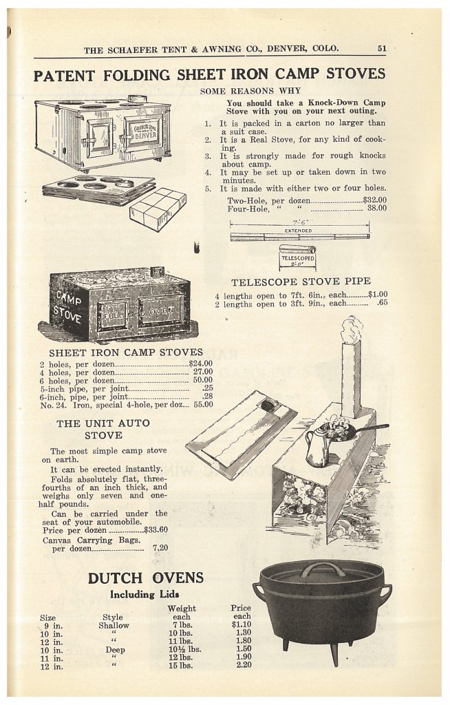 camp stoves and Dutch ovens