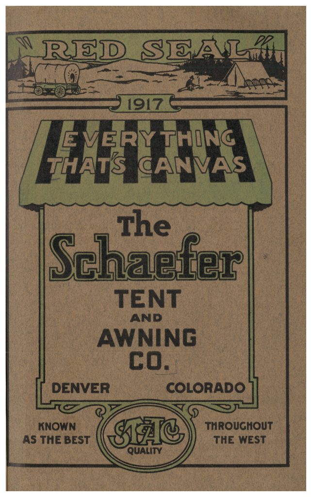 front cover of catalog showing a wagon and tent in one scene at top and a green and black awning in middle of page