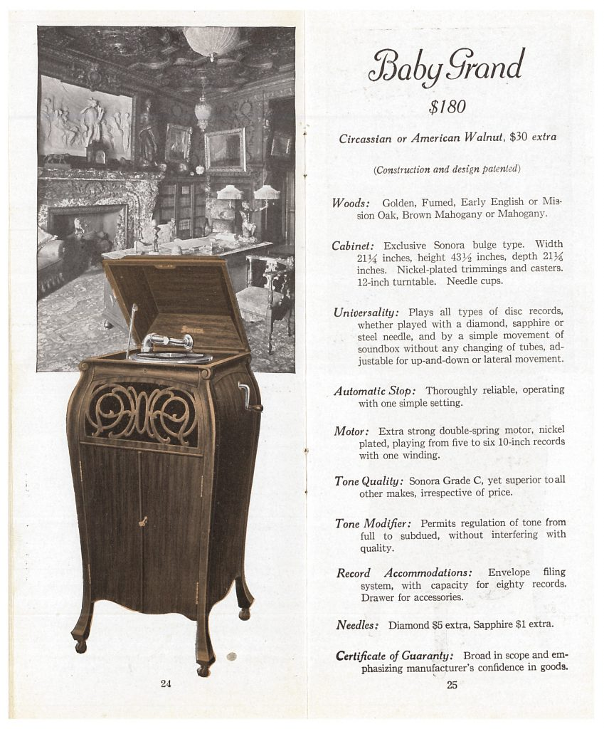 Baby Grand Sonora phonograph with an image of a room with desk, chairs, and fireplace behind it.