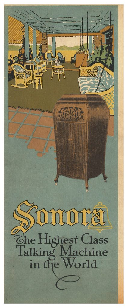 front cover of trade catalog showing a Sonora phonograph and large porch with chairs and sofa