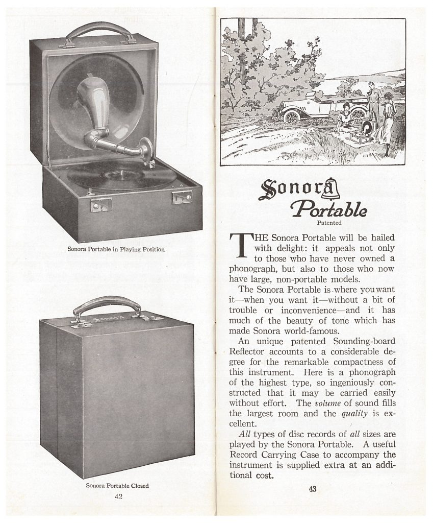 Sonora Portable phonograph, open view in playing position and closed view, and outdoor scene of people listening to a phonograph