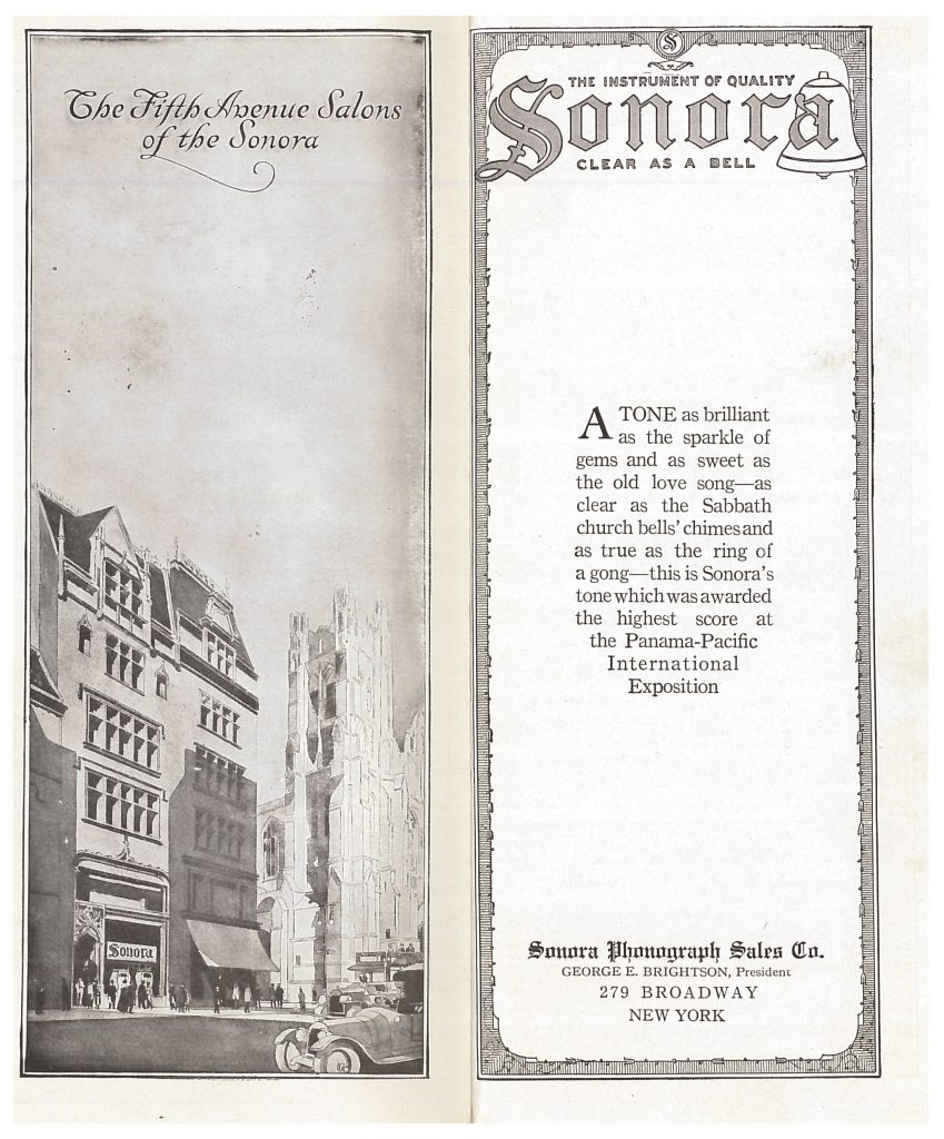 title page of catalog (left page shows a street scene with the Sonora building)
