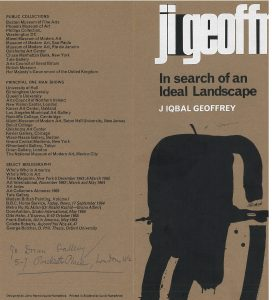 "Image of the oustide of a pamphlet for the 1966 Iqbal Geoffrey show ""In Search of an Ideal Landscape""."
