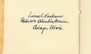 Detail of studio address in 1924 pamphlet about Lucene Goodenow ivory portraits.