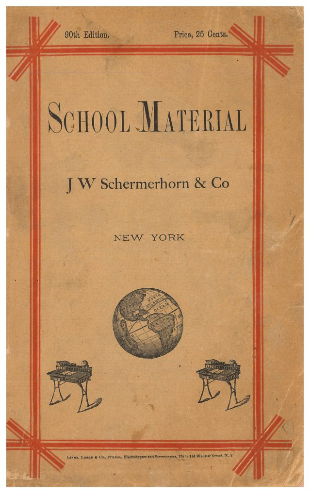 globe and school desks on front cover of trade catalog
