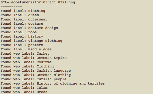 A screenshot of output describing the Turkish clothing above: For example: robe, costume, Turkey, Ottoman Empire, Islam, Dress.