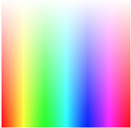 A grid of colors in the RGB spectrum showing all colors with the most brightness.