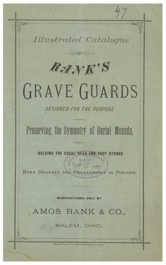 front cover of Amos Rank & Co. trade catalog about Grave Guards