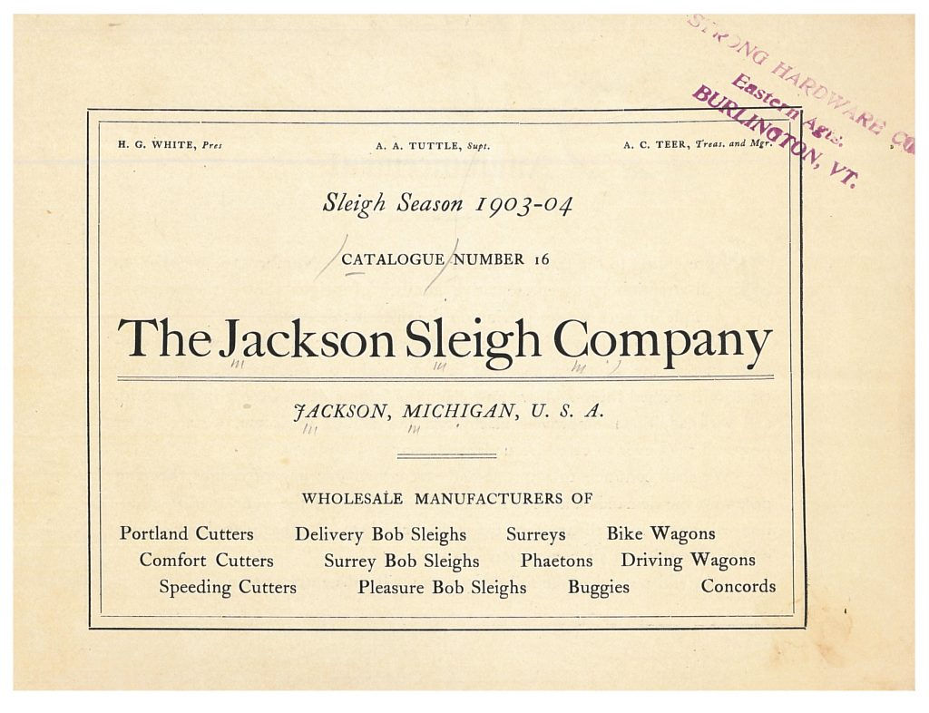 title page of 1903-1904 Jackson Sleigh Co. trade catalog