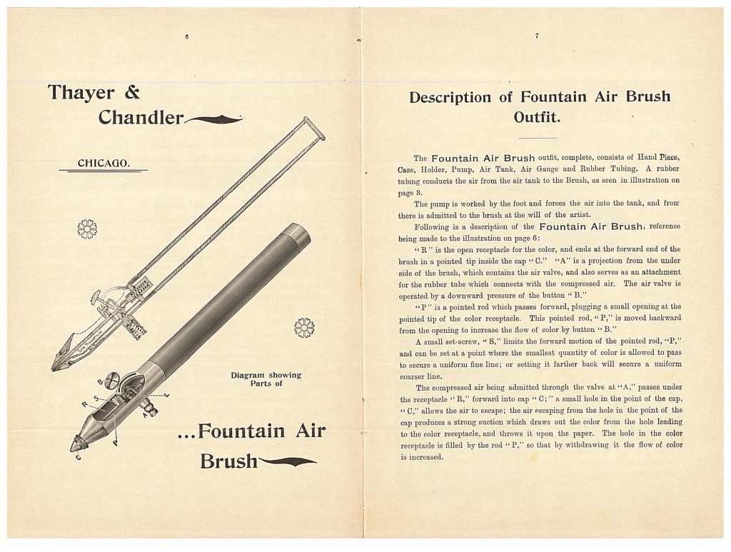 Diagram and description of Fountain Air Brush