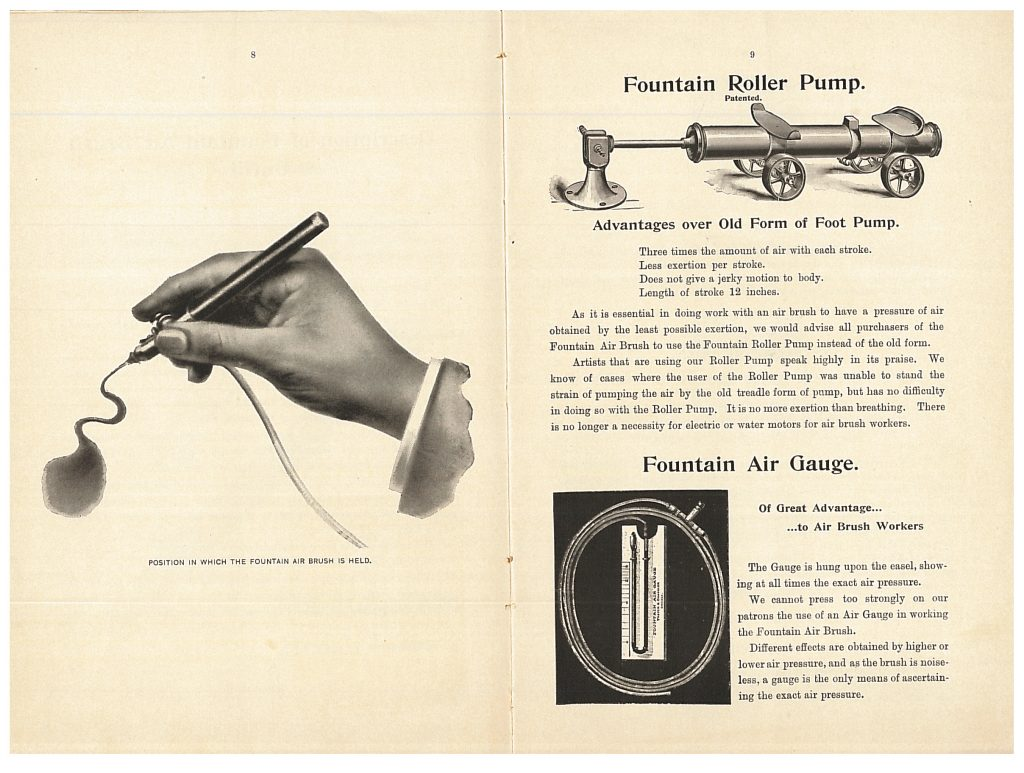proper hand position to hold a Fountain Air Brush and, on opposite page, the Fountain Roller Pump and Fountain Air Gauge