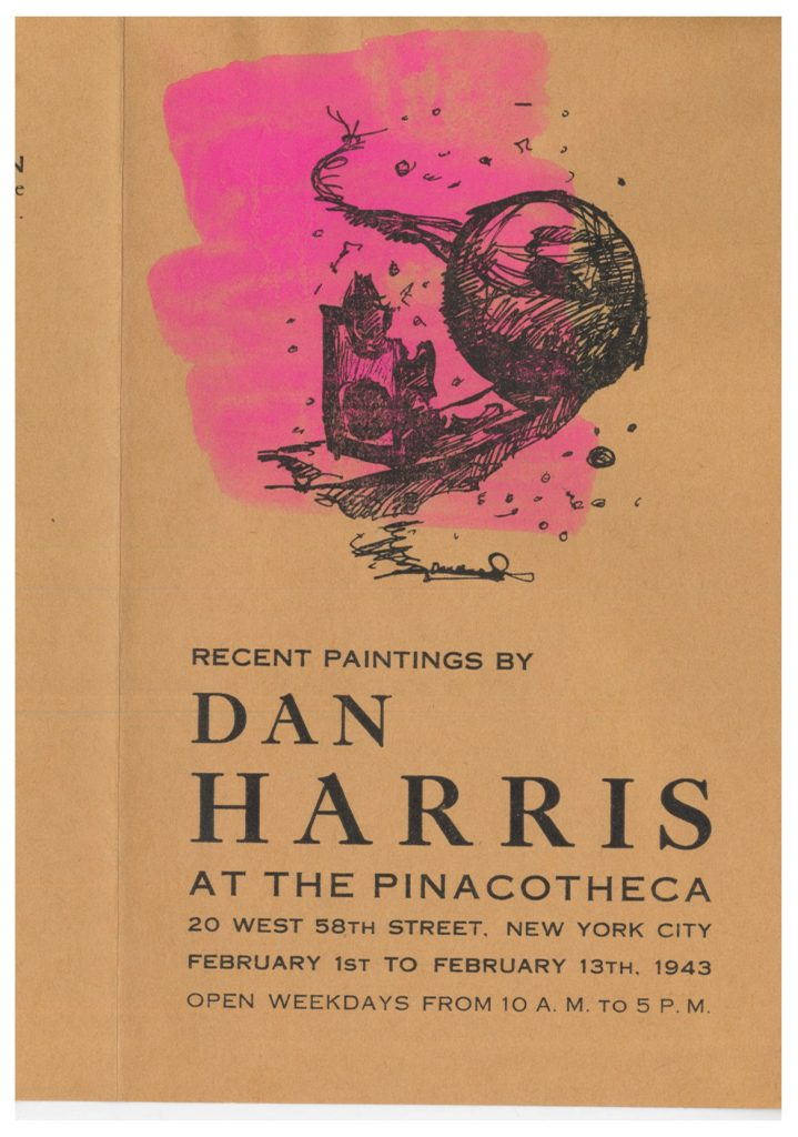 Image of the outside a pamphlet for the 1943 Dan Harris's recent painting exhibition at the Pinacotheca Gallery in New York City with bright pink paint brushed on it.