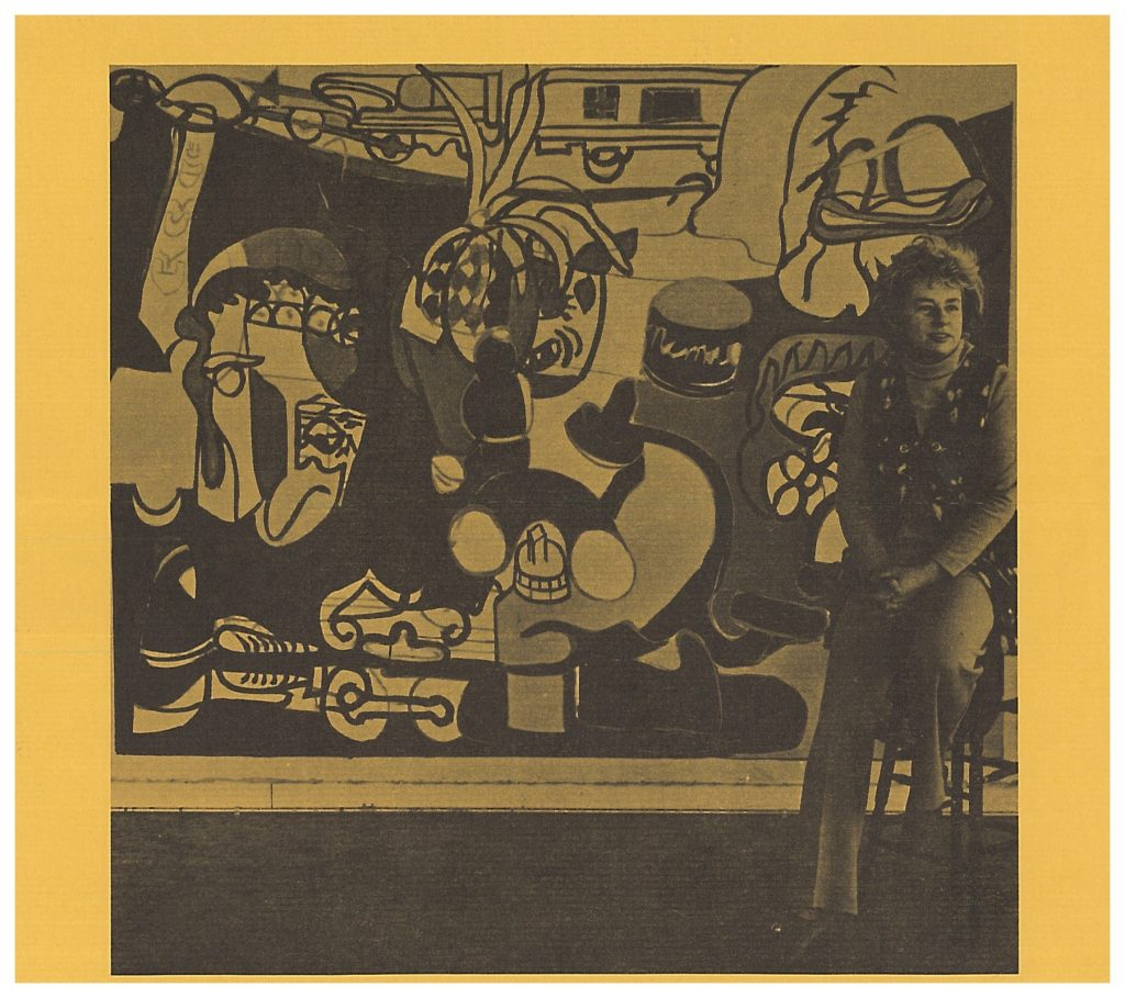 Bottom of the flyer of the Artist-In-Residence Program at University of Maryland: College Park in 1979 with Grace Hartigan.