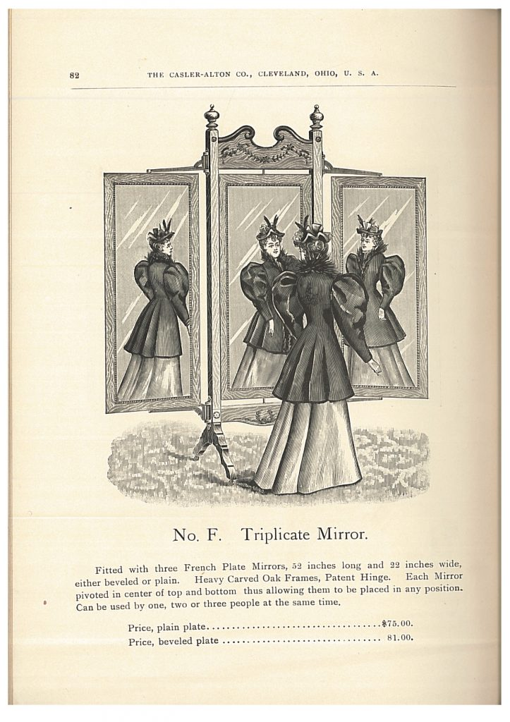 lady standing in front of a Triplicate Mirror