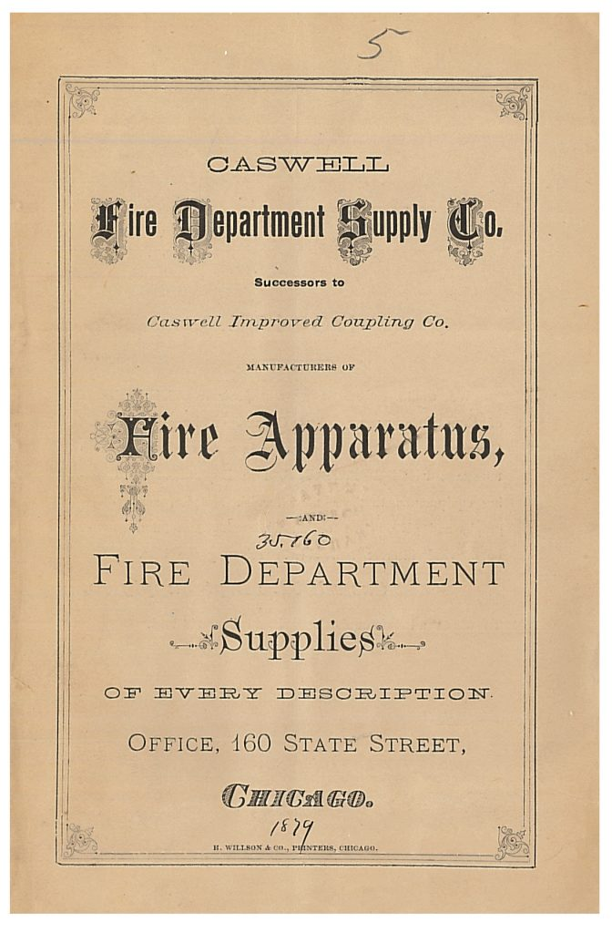 front cover of Caswell Fire Department Supply Co. trade catalog