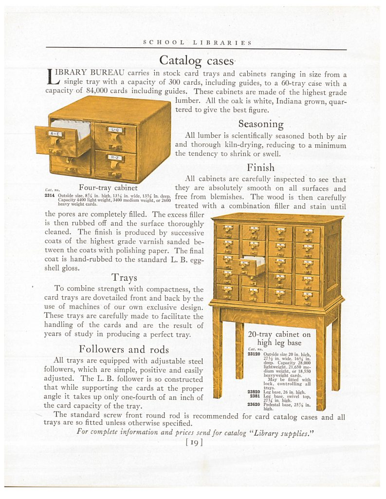 4 tray cabinet card catalog and 20 tray cabinet card catalog