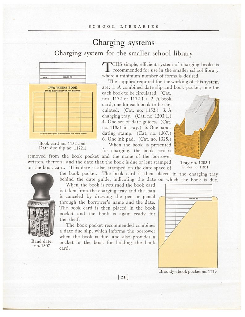 charging system supplies including book card and date due slip, charging tray with date guides, band dater, and book pocket