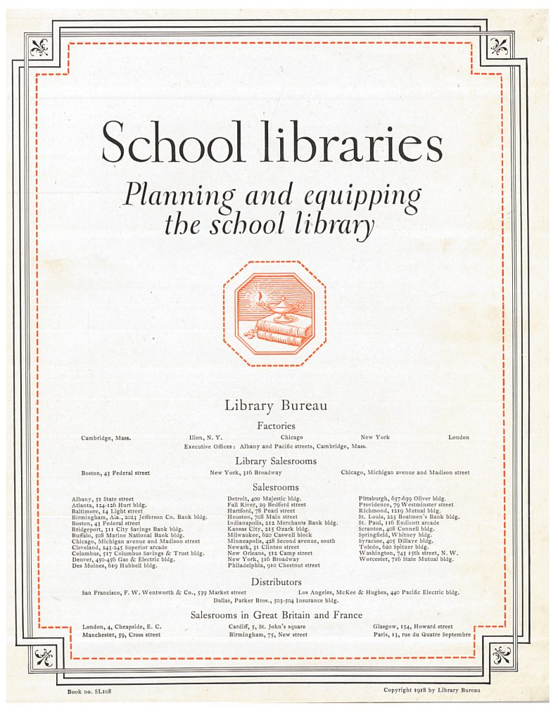 title page of School Libraries trade catalog
